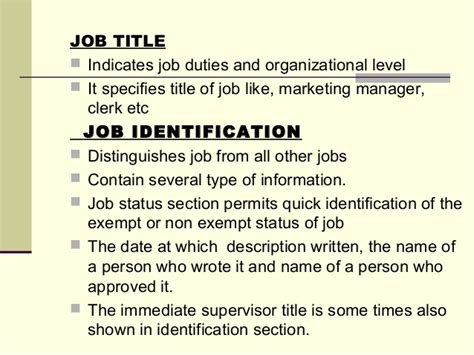 job identification section j ob analysis