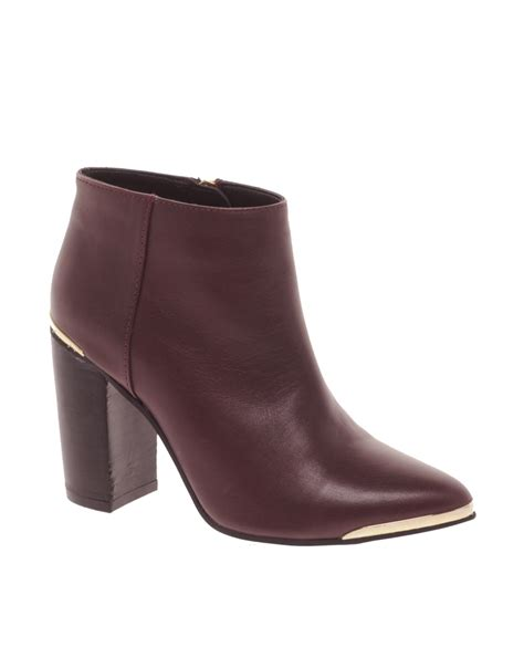 asos asos addict leather ankle boots in purple lyst