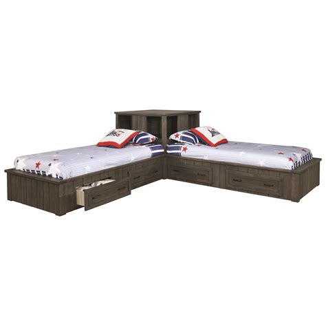 corner twin bed set napoleon twin corner bed set with storage drawers