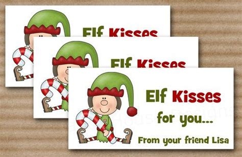 printable elf kisses elf kisses christmas treat bag topper diy by