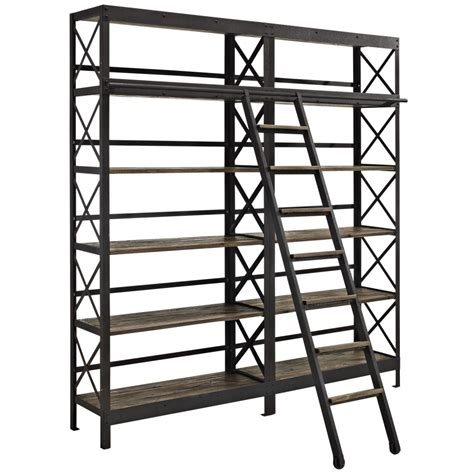 Industrial Wood Shelving Unit Brickell Collection Modern Industrial Bookcase With Ladder