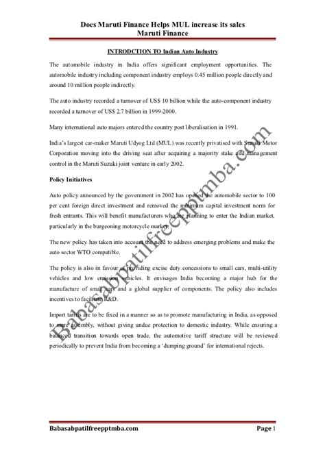 Maruti Suzuki Mba Project by A Project Report On Does Maruti Finance Helps Mul Increase