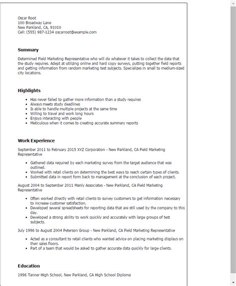 Marketing Representative Sle Resume by Professional Field Marketing Representative Templates To Showcase Your Talent Myperfectresume