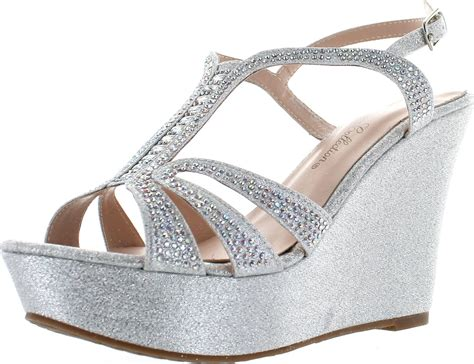 1 inch wedge dress shoes de blossom collection womens 1 dress wedge sparkle sandals ebay