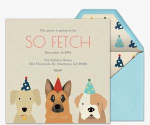 birthday card template dogs pet animal themed invitations evite