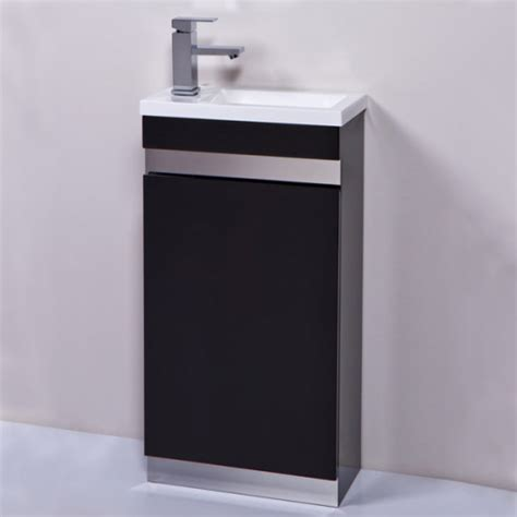 Vigo Bathroom Furniture Vigo 420mm Black Cloakroom Vanity Unit