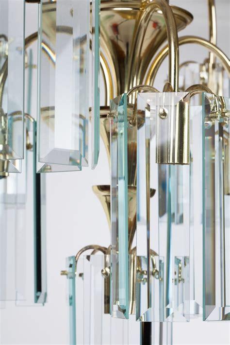 Beveled Glass Chandelier Beveled Glass And Brass Chandelier At 1stdibs