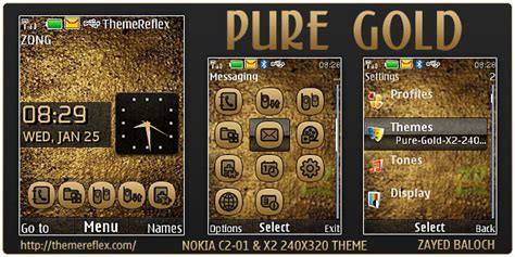 themes gold nokia pure gold theme for nokia x2 c2 01 240 215 320 themereflex