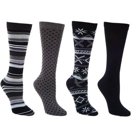 patterned trouser socks muk luks 4 pairs patterned trouser socks a268642 qvc com