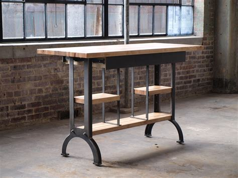 industrial kitchen table furniture buy a custom maple modern industrial kitchen island console table made to order from