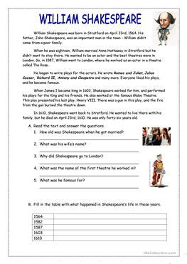 tense biography text 31 free esl shakespeare worksheets