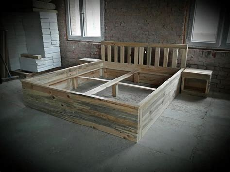 recycled wood bed frames recycled wood pallet bed frame with side tables