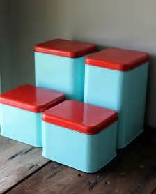 Retro Canisters Kitchen Metal Canister Set Vintage Blue Turquoise Aqua Red Retro