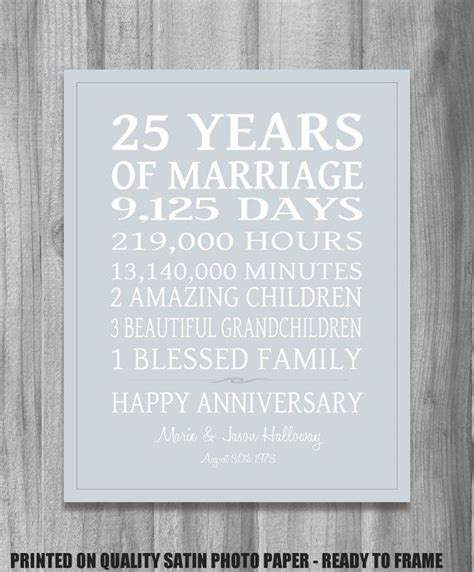 Silver Wedding Anniversary Quotes For by Silver 25th Anniversary Gift Personalized Our Story