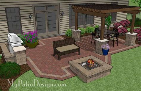 Patio Grill Designs Backyard Brick Patio Design With 12 X 12 Pergola Grill Station And Pit Plan No