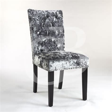 pair of new upholstered premium grey crushed velvet dining