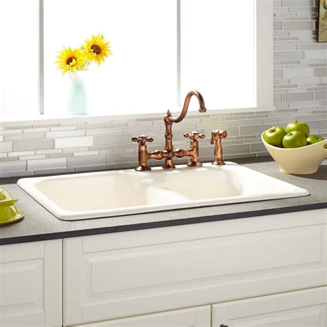 Drop In Sink Kitchen 33 Quot Elgin 60 40 Bisque Bowl Cast Iron Drop In Kitchen Sink Kitchen
