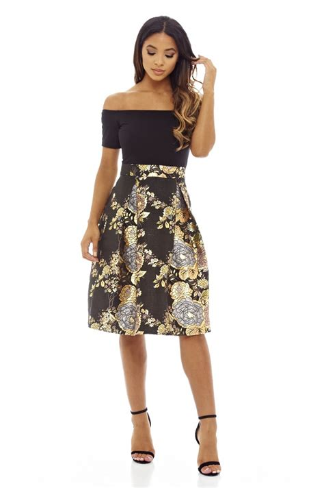 Dress Obi 2in1 Flower ax womens midi skater dress 2 in 1 black metallic floral shoulder ebay