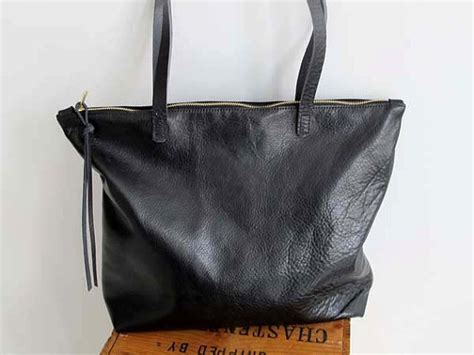 leather tote bag with zipper soft black leather zipper tote bag everyday tote bag