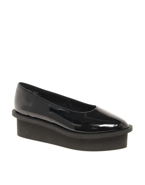 cheap monday patent flatform shoes in black lyst
