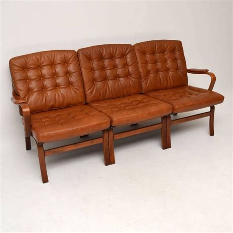retro leather bentwood sofa vintage 1970s for sale