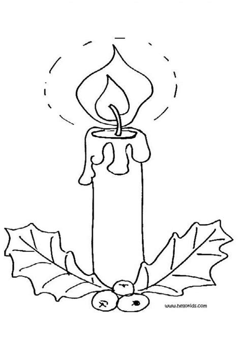 coloring pages of christmas candles lighted candle and holly coloring pages hellokids com