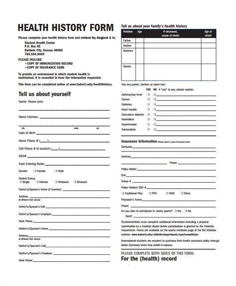 health questionnaire form template sle health history template 9 free documents