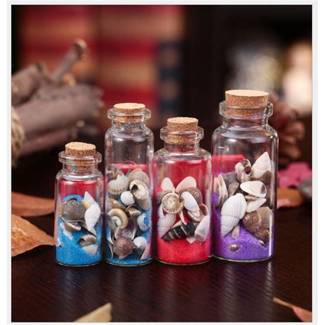 conch sea sand shell mini clear cork stopper glass bottles craft wishing small decorate