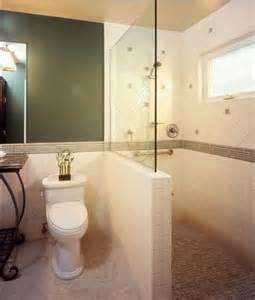 management chair design idea half height tiled shower
