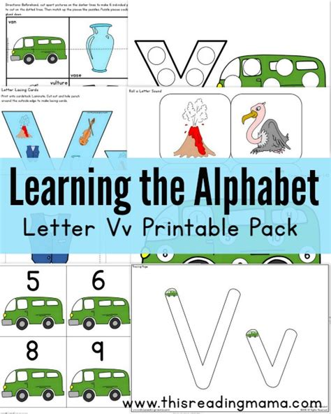 printable alphabet readers learning the alphabet free letter v printable pack