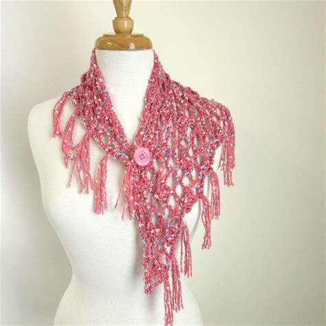 pink shawlette small fringed scarf neck scarf sesen