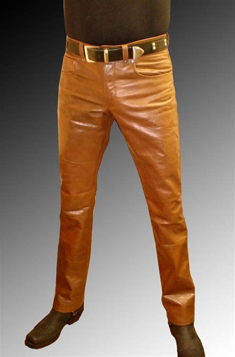 mens leather pants brown leather trousers brown  jeans