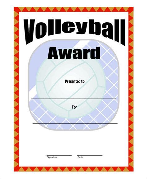 printable certificates for volleyball free printable volleyball award certificate templates