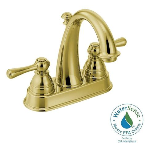 Moen Kitchen Faucet Assembly Moen Kingsley 4 In Centerset 2 Handle High Arc Bathroom Faucet In Polished Brass With Drain