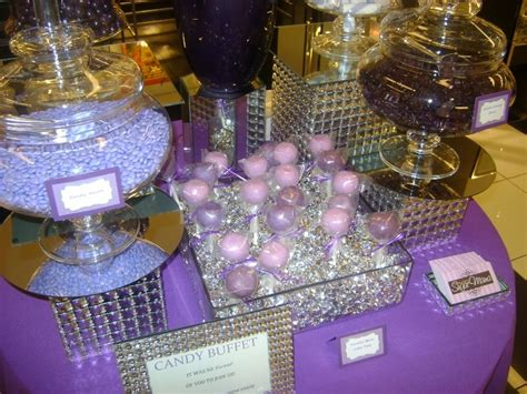 lavender dark purple and bling candy table by oc sugar