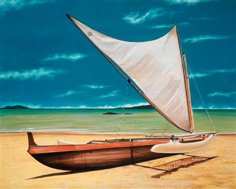 canoes lanai canoe on lanai painting by douglas fincham