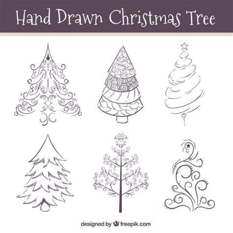Christmas Ornament Collection - hand drawn ornamental christmas trees vector free download