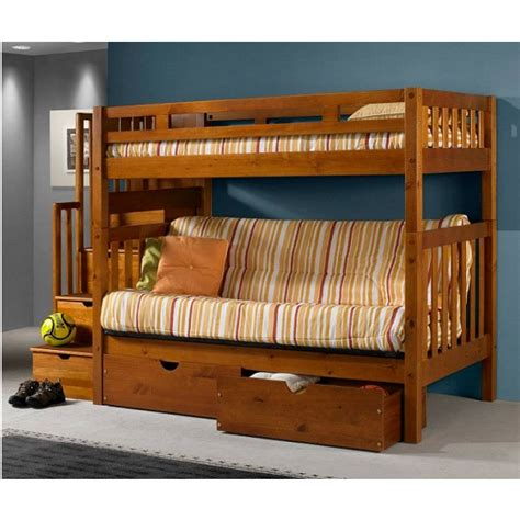 twin over futon bunk bed with stairs twin over full futon bunk bed with stairs in honey finish