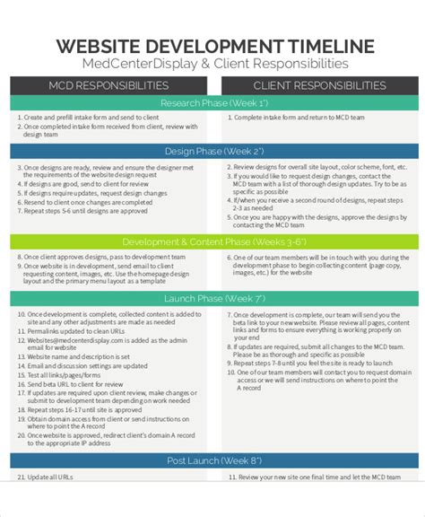 Website Timeline Template by 9 Development Timeline Templates Free Sles Exles