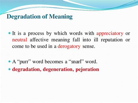 Definition Of A by Change Of Meaning Extension Narrowing Elevation