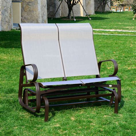 outsunny patio glider bench chair rocking 2 seat mesh