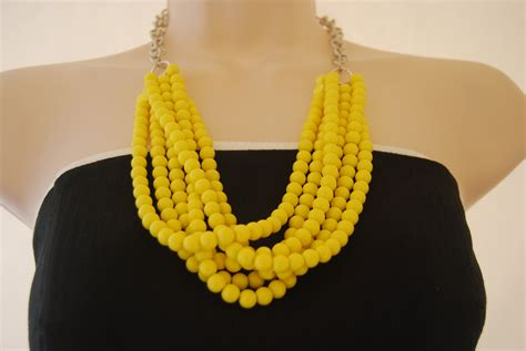 Yellow Neckles statement necklace yellow beaded necklace chunky bold
