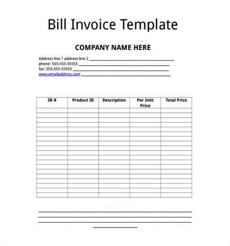 sle microsoft invoice template 14 download free