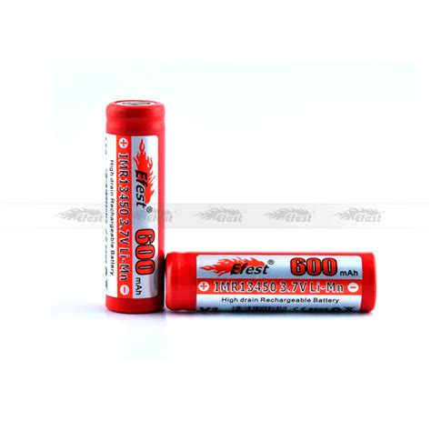 Efest Imr 13450 Li Mn Battery 600mah 3 7v With Flat Top 13450v1 Efest Imr 13450 600mah E Cigarette Battery 3 7v 13450