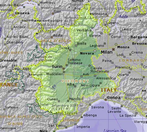 map of piedmont piedmont map italy