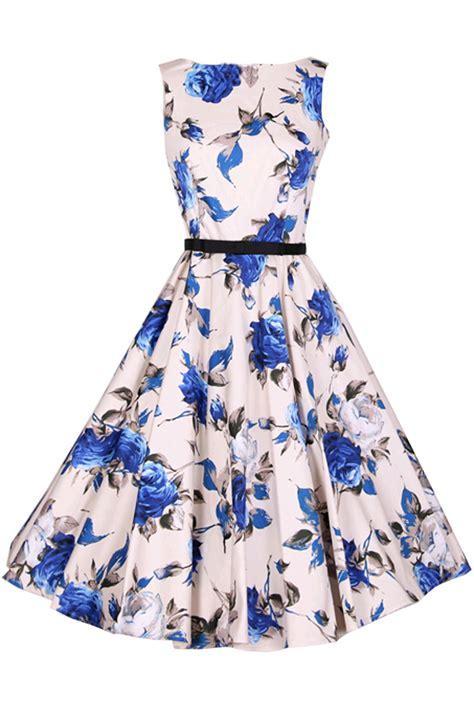 retro floral print sleeveless design a line dress oasap