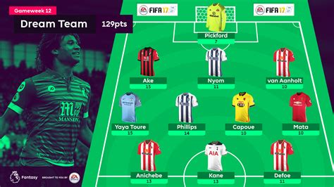 dream team 2016 17 the best xi of the season so far fpl dream team pickford heads sunderland charge