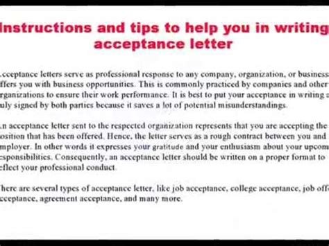 Acceptance Letter Into An Organization How To Write Acceptance Letter