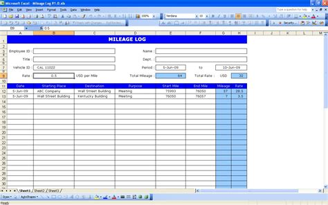 Microsoft Excel Mileage Log Template by 4 Excel Mileage Log Templates Excel Xlts