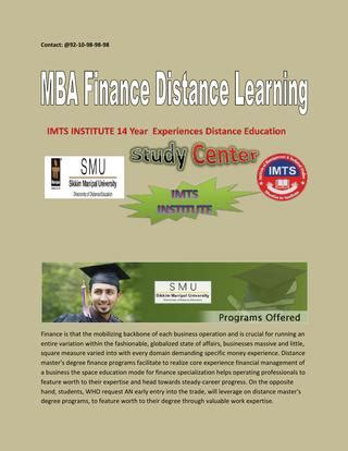 Mba Finance Distance Education by 9210989898 Mba Finance Distance Learning Smu Post Graduate